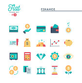 Finance, money, banking and more, flat icons set, vector illustration