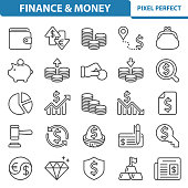 Professional, pixel perfect icons depicting various finance, money and currency concepts.