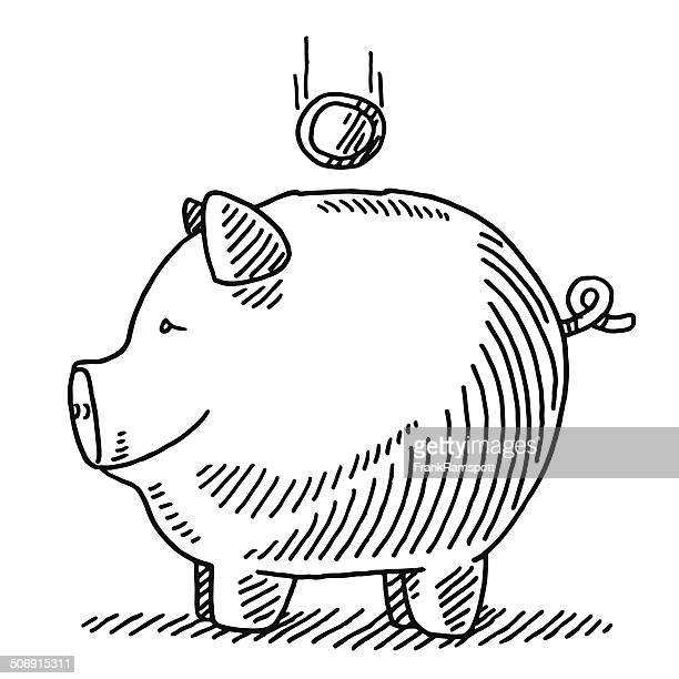 Finance Piggy Bank Falling Coin Drawing