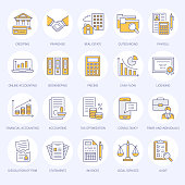Financial accounting flat line icons. Bookkeeping, tax optimization, firm dissolution, accountant outsourcing, payroll, real estate crediting. Accountancy finance thin linear signs for legal services.