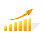 Financial chart showing the growth of sales in gold color. Vector illustration.