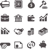 Simple financial icons. A set of 16 symbols.