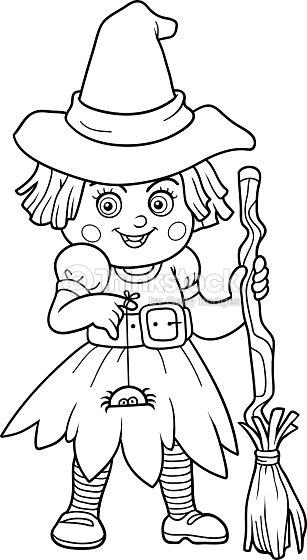 Finde Die Unterschiede Für Kinder Hexe Halloweenzeichen Vektorgrafik ...