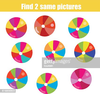 Find the same pictures children educational game : Vector Art