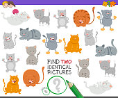 Cartoon Illustration of Finding Two Identical Pictures Educational Game for Children with Happy Cat Characters