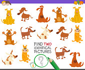 Cartoon Illustration of Finding Two Identical Pictures Educational Game for Children with Happy Dog Characters