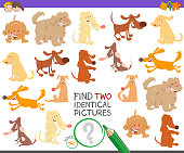 Cartoon Illustration of Finding Two Identical Pictures Educational Game for Children with Cute Dog Characters