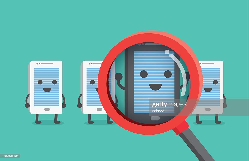 Finding and select good smartphone with magnifier. : Vector Art
