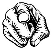A hand pointing a finger in a wants or needs you gesture in a vintage woodcut style.