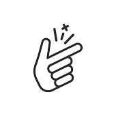 Finger snap icon in flat style. Fingers expression vector illustration on white isolated background. Snap gesture business concept.