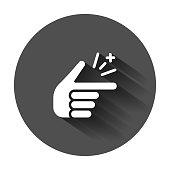 Finger snap icon in flat style. Fingers expression vector illustration with long shadow. Snap gesture business concept.