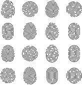 Fingerprint detailed icons. Police scanner thumb vector symbols. Identity person security id pictograms. Finger identity, technology biometric illustration