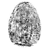 Fingerprint, silhouette vector. Dactylogram isolated on white background