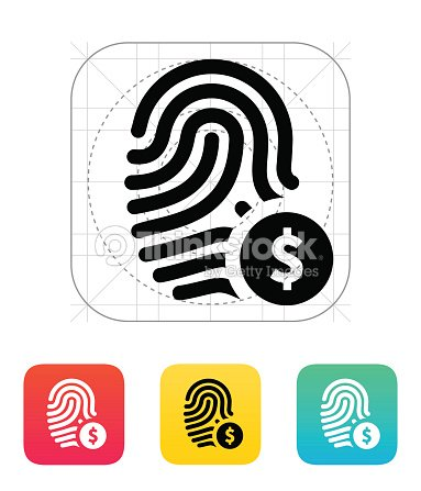 Fingerprint With Usd Currency Symbol And Money Label Icon Vector Art