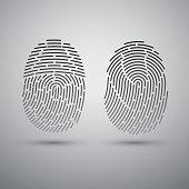 Fingerprints set. Vector illustration. Security system Digital lock