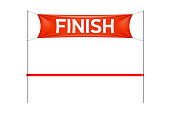 Finish line banner with red ribbon, vector illustration