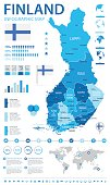 Finland infographic map and flag - vector illustration