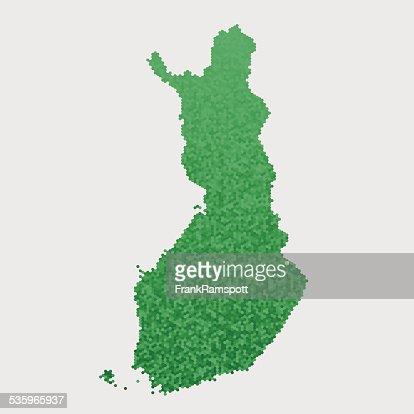 Finland Map Green Hexagon Pattern : Vector Art