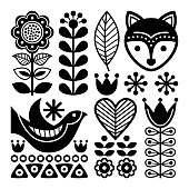 Vectorblack background with flowers and animals animals isolated on white