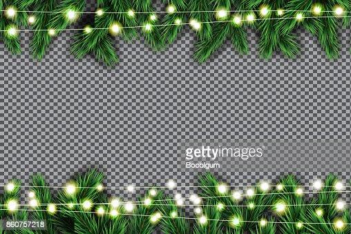 Tanne Zweig mit Neonröhren auf transparenten Hintergrund. : Vektorgrafik