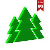 Fir forest icon.Isometric and 3D view.