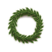 Fir wreath isolated on white background. Vector design element