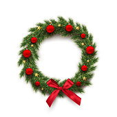 Fir wreath with red Christmas balls, bow and golden stars isolated on white background. Vector design element