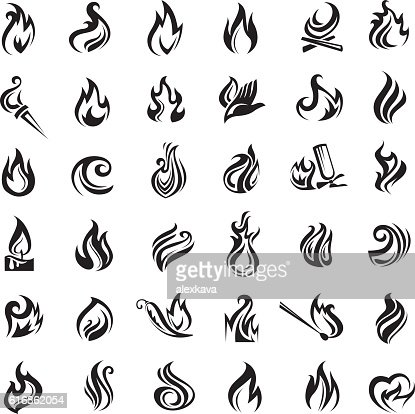 fire and flames icons : Vector Art