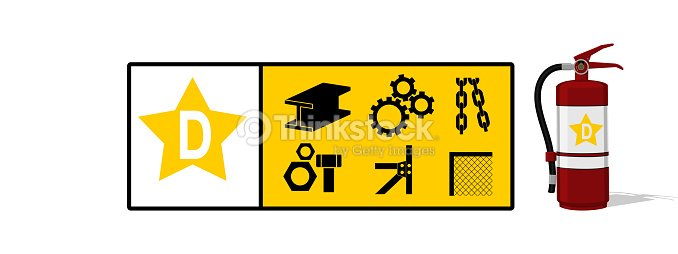 Fire Class D Icon With Extinguisher Vector Art Thinkstock