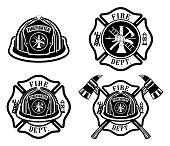 Fire Department Cross and Helmet Designs  is an illustration of four fireman or firefighter Maltese cross design which includes fireman's helmet with badges and firefighter's crossed axes. Great for t