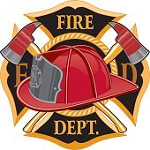 Fire Department Cross Symbol is an illustration of a fireman or firefighter Maltese cross emblem with a firefighter helmet and firefighter axes in the foreground. Great for t-shirts, flyers, and websi