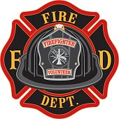 Fire Department Cross Volunteer Black Helmet is an illustration of a fireman or firefighter Maltese cross emblem with a black volunteer firefighter helmet and badge in the foreground. Great for t-shir