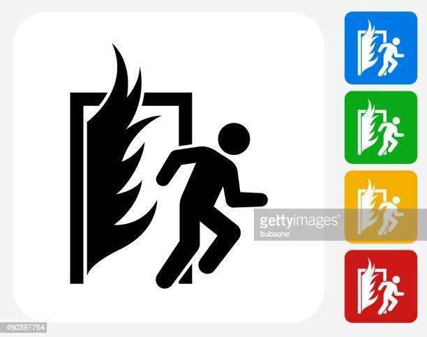 Salida de incendios iconos planos de diseño gráfico