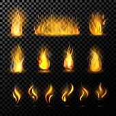 Fire flame vector fired flaming bonfire in fireplace and flammable campfire illustration fiery or flamy set with wildfire isolated on transparent background.