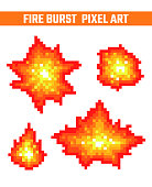 Fire burst pixel icons set. Old school computer graphic style.