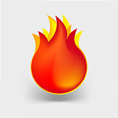 Fire Icon Vector Illustration, Flame Symbol.