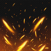 Fire sparks flying. Firestorm texture. Sparks charcoal. on transparent background. Vector illustration. Eps 10.