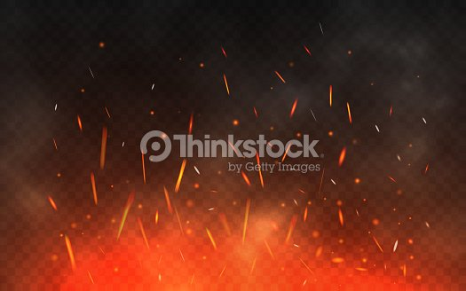 glowing particles on a transparent background realistic fire and smoke