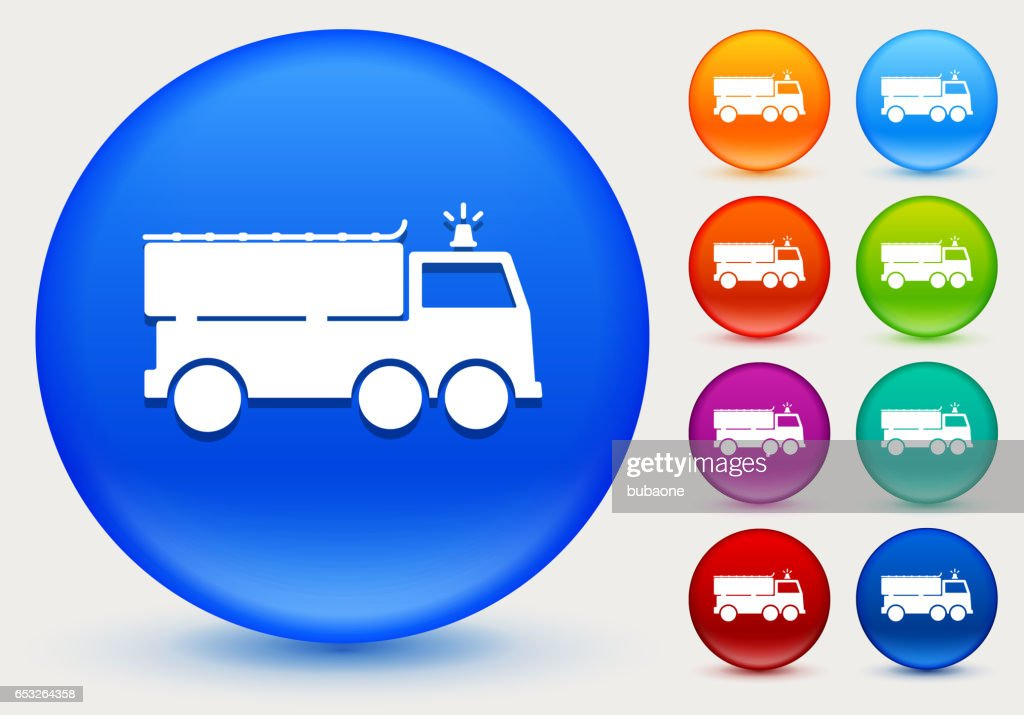 Fire Truck Icon on Shiny Color Circle Buttons : Arte vettoriale
