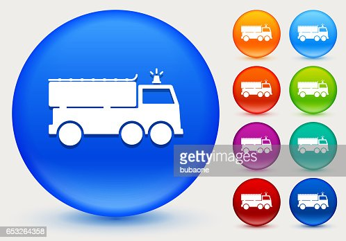 Fire Truck Icon on Shiny Color Circle Buttons : Vector Art