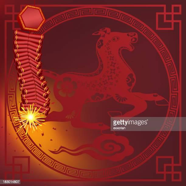 Pétard en face du nouvel an chinois de cheval