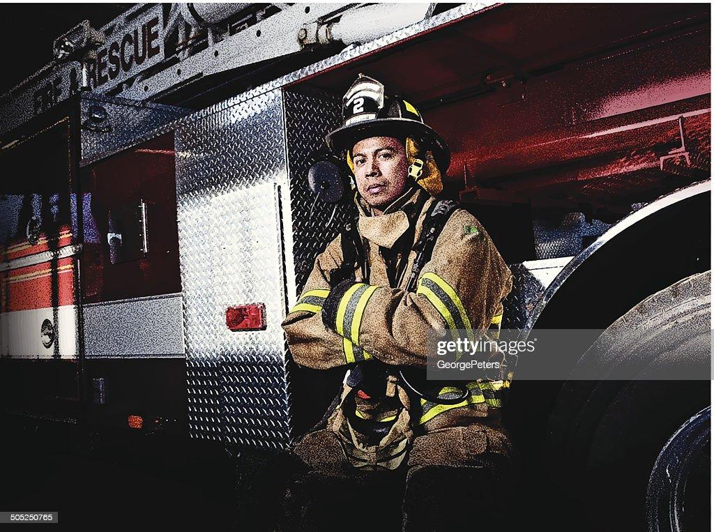 Firefighter and Fire Truck : Vector Art