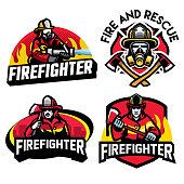 vector of firefighter badge design set