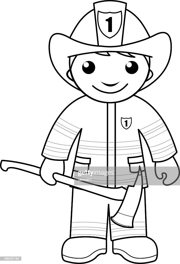 Fire Fighter Coloring Pages Boy - Worksheet & Coloring Pages