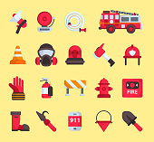 Firefighter elements vector fire department emergency icons and water safety car vehicle, mask, fire extinguisher equipment fireman protection illustration. Burning house flat emblem tool.