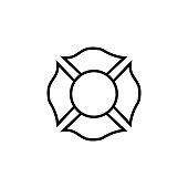 Firefighter emblem icon on white background
