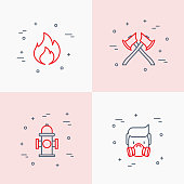 Firefighter thin line icons set: fire, respirator, axes, hydrant. Modern vector illustration.