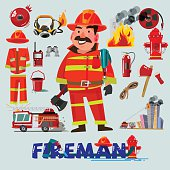 Firefighter with and first help equipment. character design. Fire truck and tools - vector illustration
