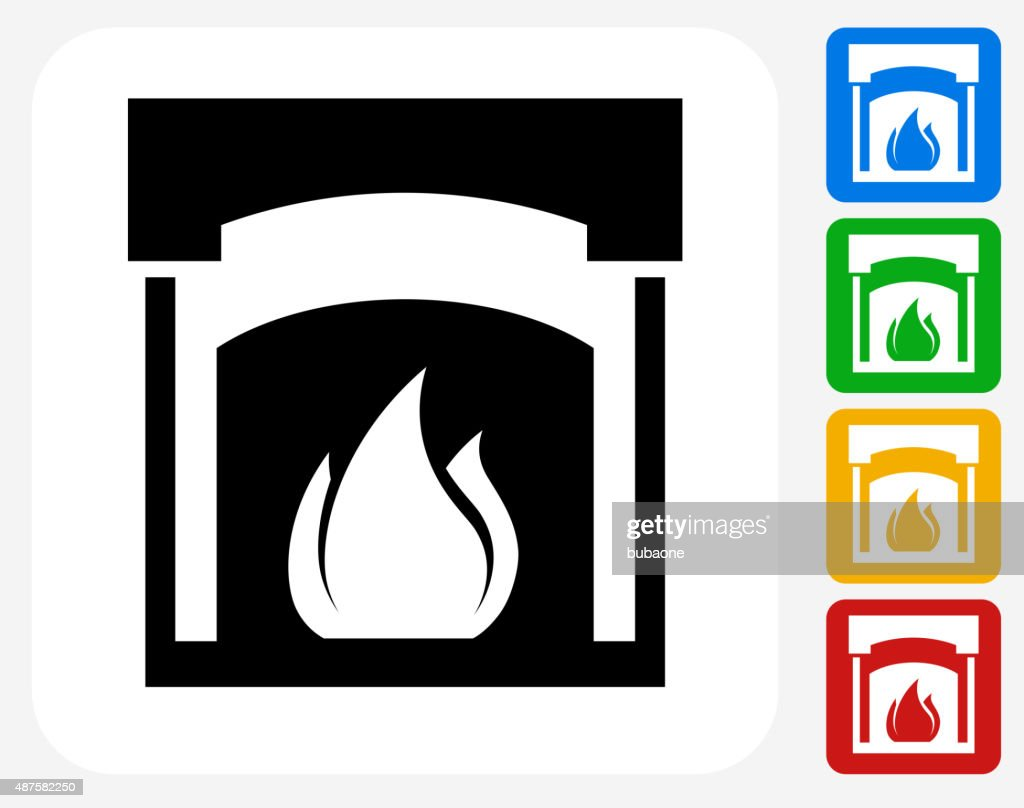 fireplace icon flat graphic design vector art getty images