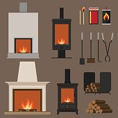Set of vector fireplaces, with woods, tools and accessories. Flat style.
